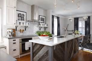 herringbone subway tile contemporary kitchen para
