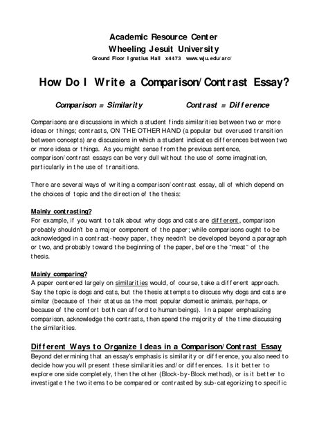 Topics For Compare And Contrast Essays Elementary by 48 Compare And Contrast Essay College Compare Contrast