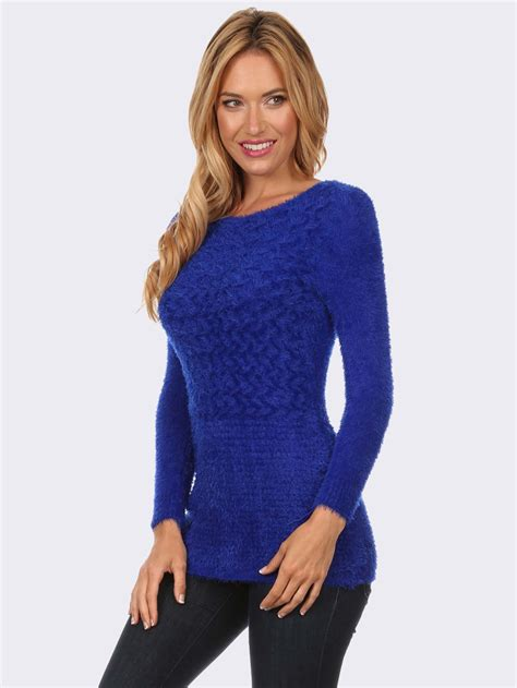 blue knit sweater royal blue textured knit sweater modishonline