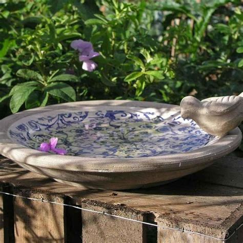 buy blue ceramic bird bath the worm that turned