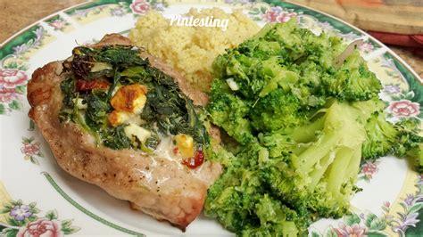 pork chops stuffed with feta and spinach cooking light spinach and goat cheese stuffed pork chops recipe dishmaps