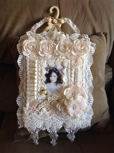 166 best fabric lace wall hanging s images on pinterest lace shabby chic crafts and wall hangings