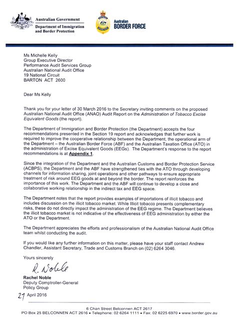 release letter dibp administration of tobacco excise equivalent goods australian national audit office
