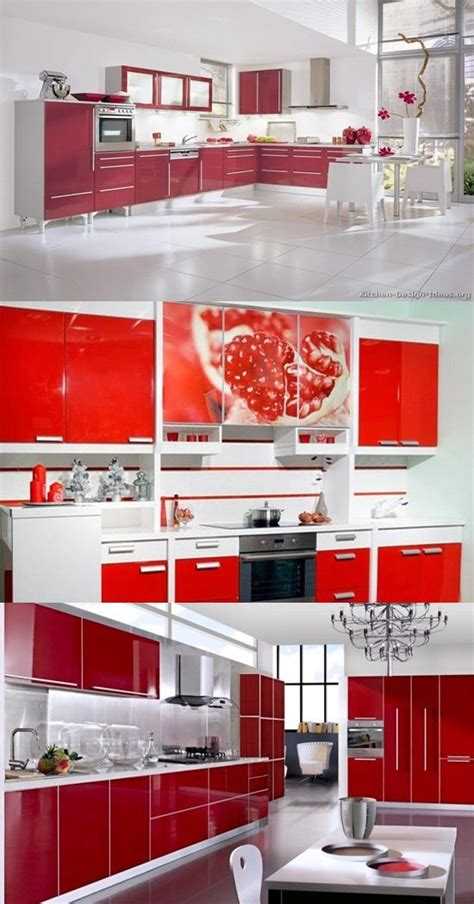 Red Kitchen White Cabinets | red and white kitchen cabinets interior design