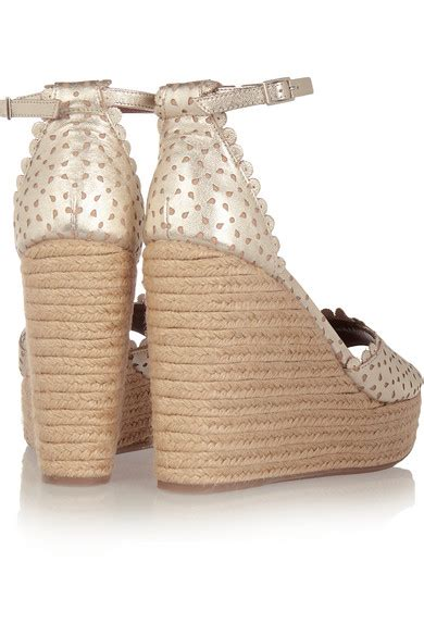 Leather Wedges Shoes 9 Cm 299 simmons harp perforated leather espadrille