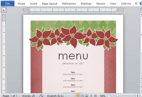 6 best images of free printable christmas menu templates