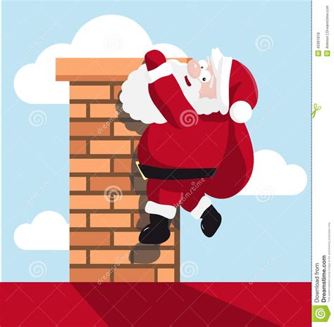 santa hanging on the chimney stock vector image 45991818
