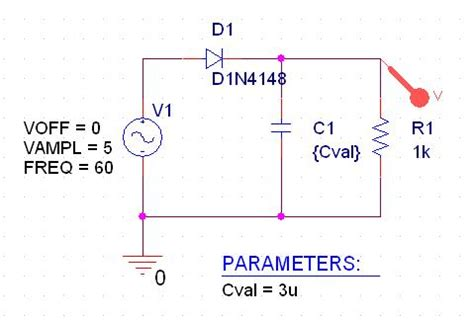 rectifier diode pspice pspice simulation of half wave rectifier