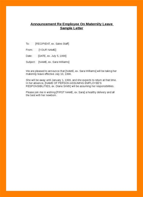 exit memo template 16 maternity leave letter format employee new