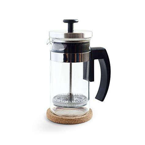 Brillante Small French Press Coffee Maker with 12 Ounce/3 Cup Glass Beaker   Single Serve