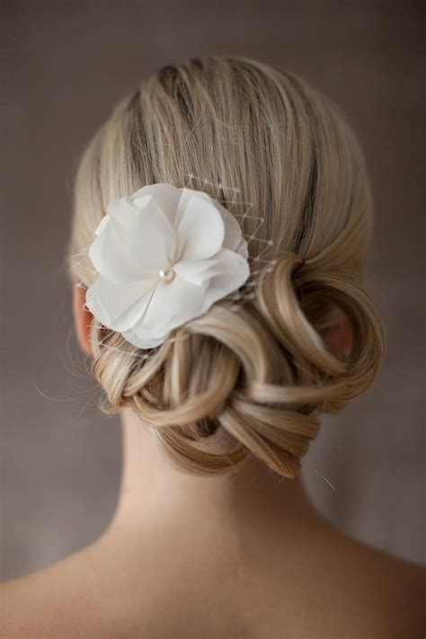 Wedding Hair Flower With Netting by Bridal Silk Flower Wedding Hair Flower Netting