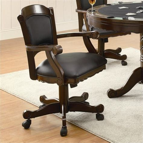 armchair with casters coaster turk arm chair with casters in tobacco 100872