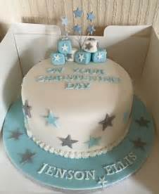how to decorate a christening cake for boy boys simple single tier christening cake blue silver