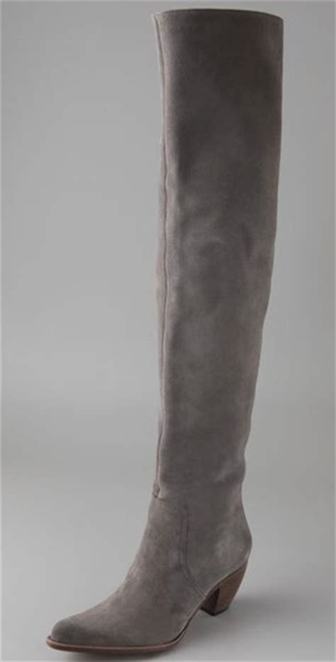 elizabeth and western thigh high suede boots in gray