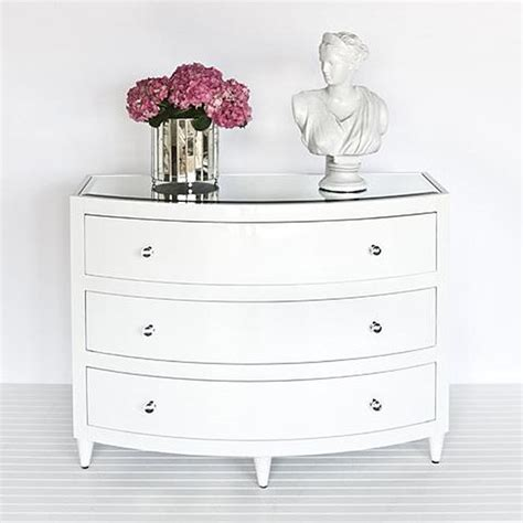 Worlds Away Natalie White Bow Front Dresser Traditional White Bedroom Dressers Chests