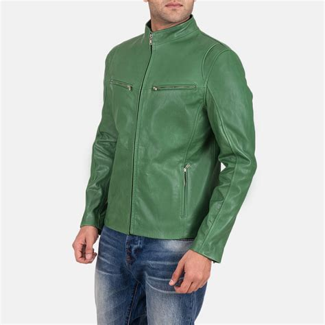 Mens Green Leather mens ionic green leather jacket