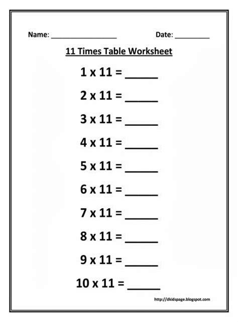 11 Times Table by Page 11 Times Multiplication Table Worksheet