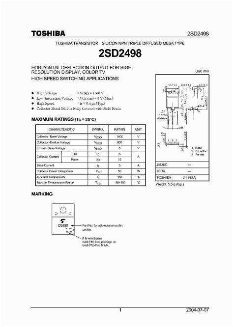 d2498 transistor pdf d2498 889736 pdf datasheet ic on line
