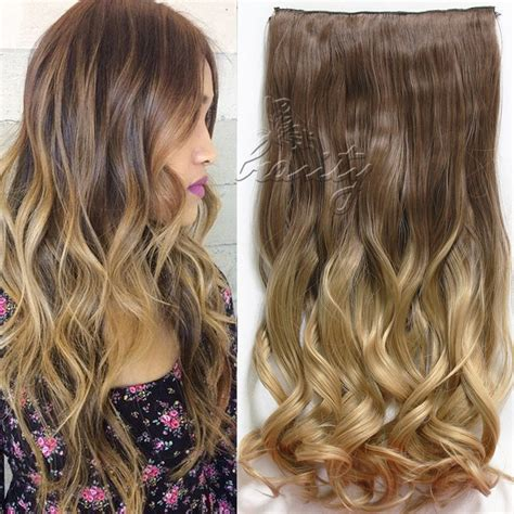 Hair Clip Ombre Curly dip dye clip in curly synthetic 5 16