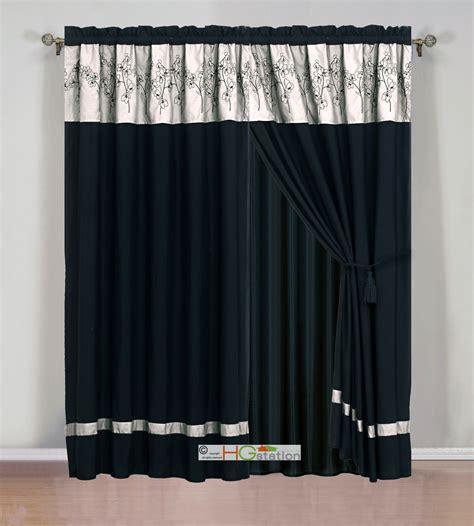 4 Pc Flower Floral Bloom Curtain Set Dark Beige Khaki