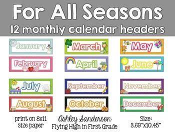 free printable monthly calendar headers 357 best images about preschool calendar printables on