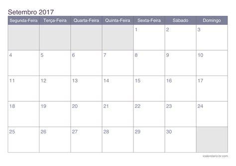 Calendario Setembro 2017 Calend 225 Setembro 2017 Para Imprimir Icalend 225 Br