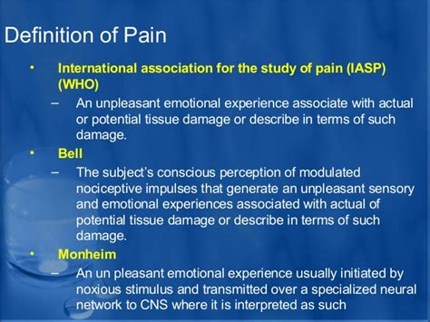 define pattern theory of pain analgesics dental implant courses