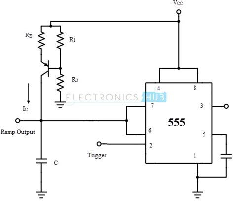 charging capacitor constant current source monostable multivibrator using 555 timer