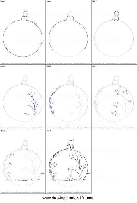 how to draw a christmas bauble printable step by step