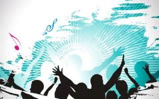 Muziek wallpaper met dansend publiek dat uit zijn dak gaat