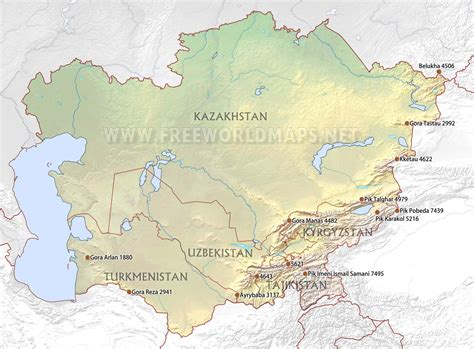 central asia physical map central asia physical map