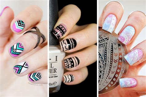 aztec pattern nail art aztec nail design tutorial aztec print over purple