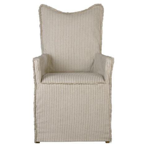 coby coastal fray trim beige stripe armchair pair