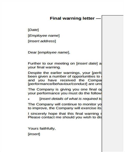 final warning letter template word