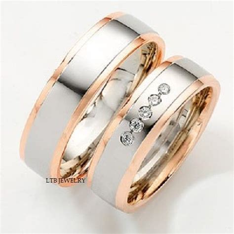 Harga Cincin Gucci 14k two tone gold matching his hers wedding bands