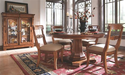 pedestal dining room set tuscano round pedestal dining room set from kincaid 96