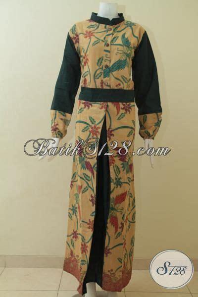 desain baju batik berhijab gamis batik desain mewah perpaduan warna hijau dan cream