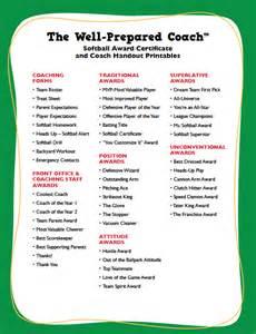 softball award certificates templates coaching forms
