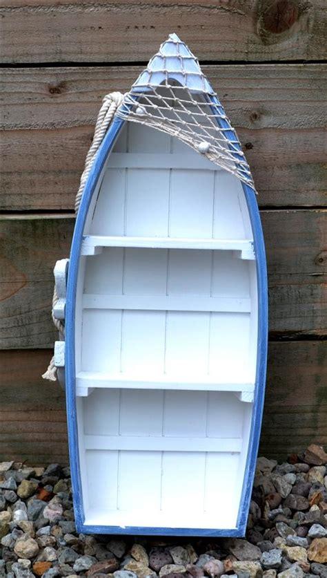 103cm wooden blue white rowing boat shelves nautical - Rowing Boat Shelf Unit