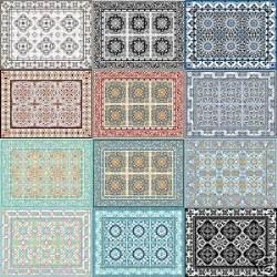 Vinyl Kitchen Rugs Retro Mats Tile Rug Carpet Pvc Vinyl Floor Door Bathroom Kitchen Salon Ebay