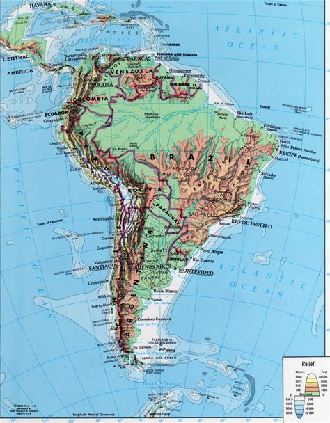 mapa topografico america sur mapa hidrografico de america completo
