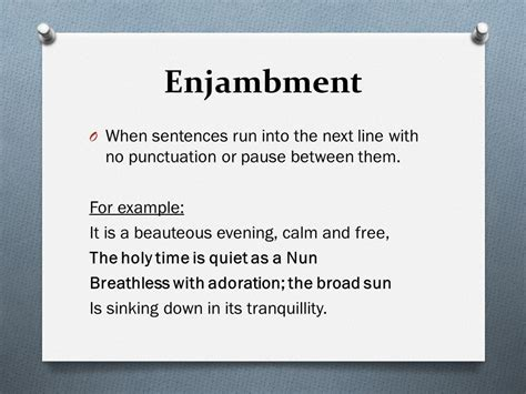 exle of enjambment gcse poetry an introduction ppt