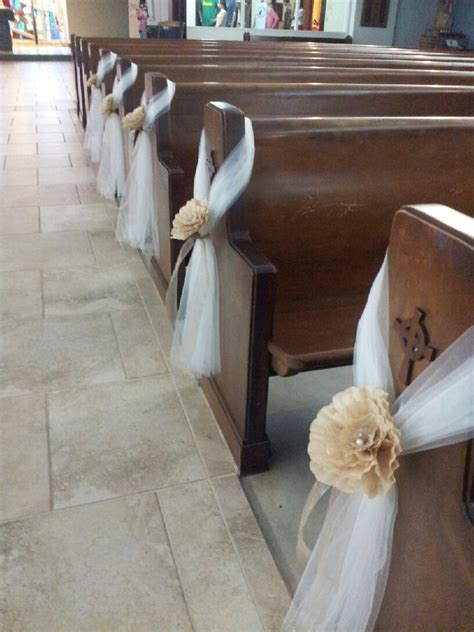 pew decoration tulle and paper flowers diy wedding