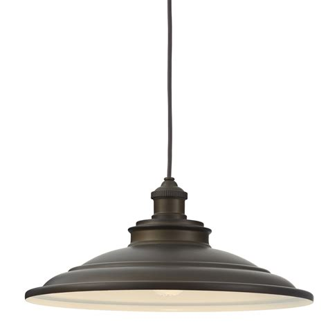 Single Pendant Lights Shop Allen Roth Hainsbrook 15 98 In Aged Bronze Barn Single Dome Pendant At Lowes