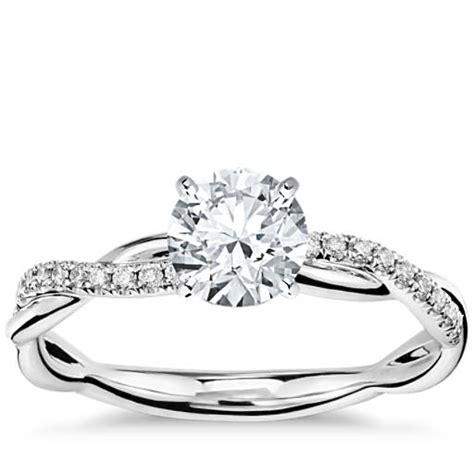 twist engagement ring in platinum 1 10 ct