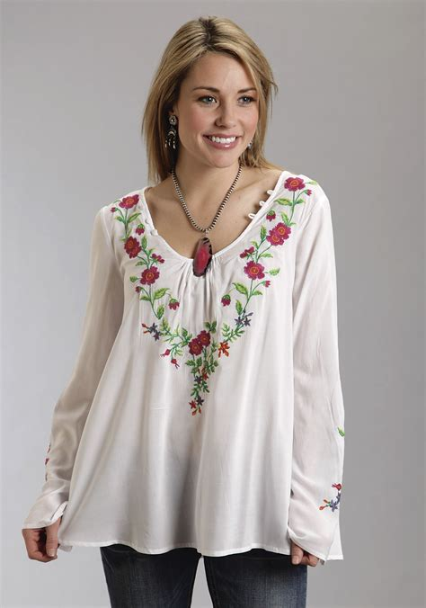 White Flower Embroidered Blouse 18951 stetson 174 white bell sleeve floral embellished western peasant top