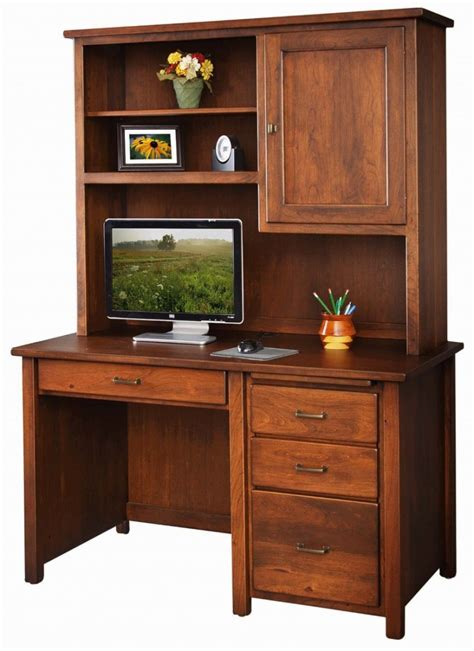 pedestal desk with hutch boyer ave single pedestal desk with hutch solid hardwood