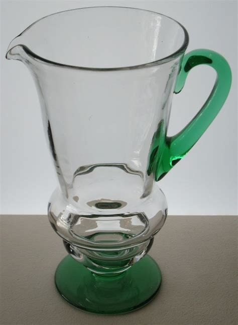 glass jug l base vintage used depression era glass jug w