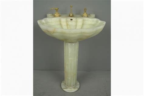 Sheryl Wagner Sinks sheryl wagner shell form onyx pedestal sink with 24k gold plated hardware 1696151
