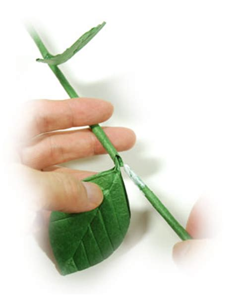Flower Stem Origami - how to make a hollow origami stem page 9